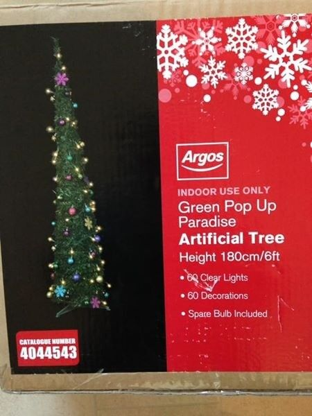 Mark - Argos 6 Foot Slim Pop Up Green Christmas Tree With Decorations