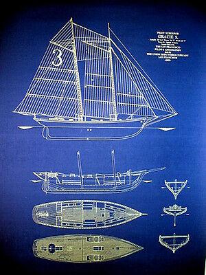 "Vintage Schooner Gracie of San Francisco 1893 Blueprint Plans 23""x34"" (100)"