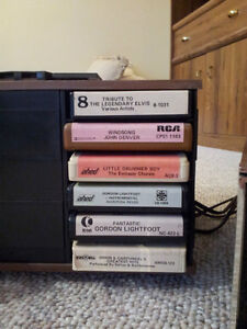 Stereo 8 Eight-Track Player with 35 Cassette Tape Cartridges Stratford Kitchener Area image 2