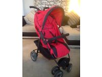 Petite star red city bug stroller with raincover