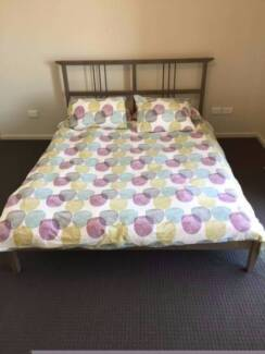3x ikea wooden double size bed frame + mattress , can delivery at