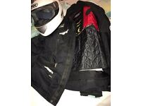 RST helmet waterproofs and padded jacket size large