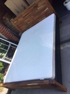 solid wooden queensize bed frame used mattress, can delivery at e