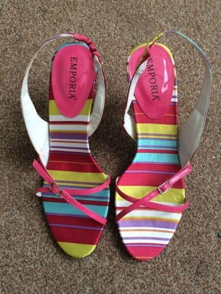 Emporia Multicoloured Slingback Heels Size 4 UK