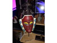 African Baule Wooden Tribal Mask With Stand.