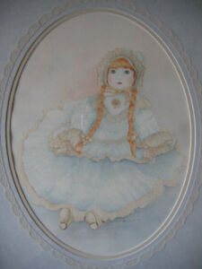 MARILYN GAIAN ORIGINAL DOLL WATERCOLOUR