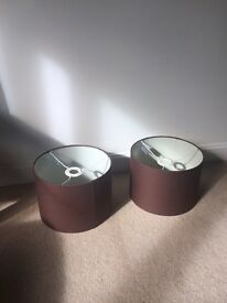 Pair of brown lamp shades