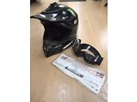 Nox motocross helmet and goggles
