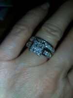 carat and a half princess cut engagement set white gold REDUCED