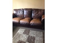 3 seater & 2 seater brown leather