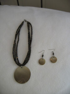 Matching Shell and Brown Beads Necklace and Earrings Pretty!!