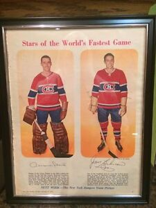 1958 Montreal Canadians Jacques Plante and Jean Beliveau Hockey