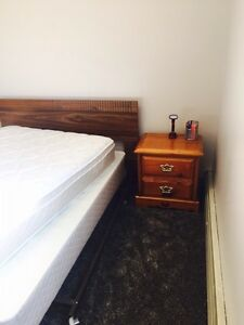 Mattress, box spring and a side table for sale