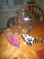 $10 obo- Glass Fish Bowel ( 1 Gallon) with Gravel & Plant
