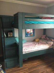 Twin bunk bed - BLUE -WOOD