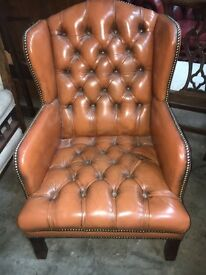 Tan Chesterfield Leather Wing Chair - CAN DELIVER