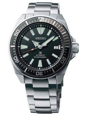 New Seiko Automatic Prospex Samurai Divers Black Dial Men's Steel Watch SRPF03