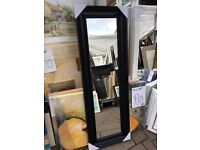 full length chunky scallop black wooden framed mirror