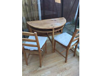 Fold down dining table + 2 chairs