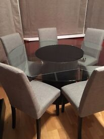 Bo Concept Dining Table + Chairs with Lazy Susan