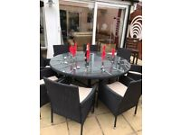 Outdoor Rattan Garden Black 8 seater Dining table, 8 chairs with cushions