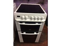 White zanussi 50cm ceramic hub electric cooker grill & fan oven good condition with guarantee