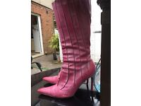Pink knee high boots size 6