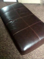 Brown Leather Ottoman Footstool
