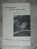 ..An Annotated List of NOVA SCOTIA BIRDS [By Robie W.Tufts]... W