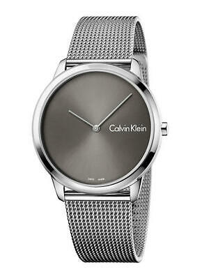 Calvin Klein Men's Minimal K3M211Y3 40mm Black Dial Stainless Steel Mesh Watch