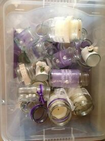 Decorated wedding glass jars
