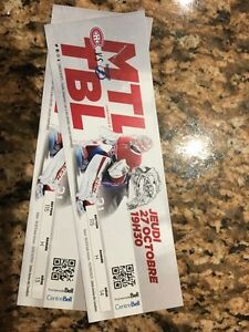 Billets/Tickets 27 octobre Canadiens - Lightning de Tampa Bay