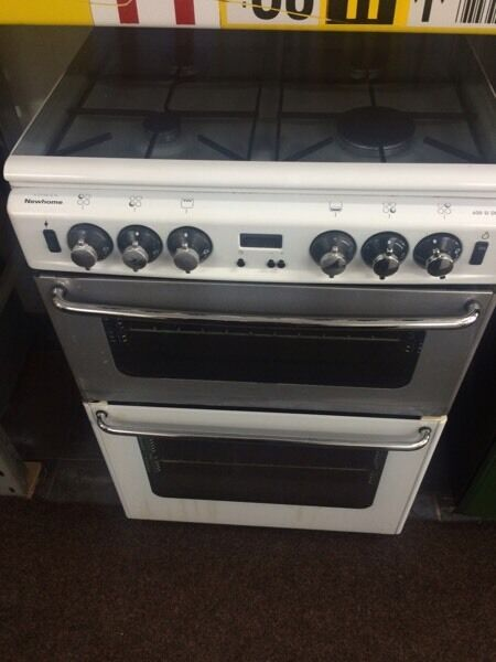 White & silver new home 60cm gas cooker grill & oven good condition with guarantee