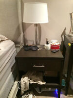 Crate & Barrel brown wood bedside table with drawer