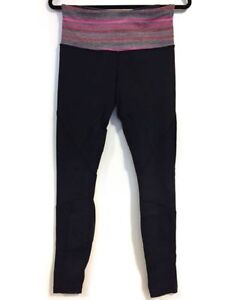 Lululemon Black tights with grey and pink waistband, size 6