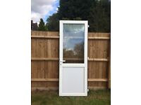 White UPVC Double Glazed External Back Composite Door With Key