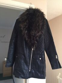 New look leather and fur jacket size 12 new