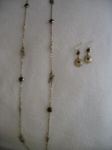 Authentic Lia Sophia Gold & Brown Crystals Necklace & Earrings