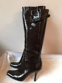 JIMMY CHOO dark patent leather boots UK 6.5