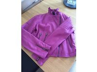 Next leather look pink jacket -14