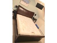 King size leather sleigh bed & med/firm mattress