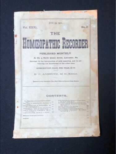 JUNE 15 1917 ISSUE THE HOMEOPATHIC RECORDER LANCASTER PA