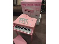 Baby grand piano solid wood with stool in box