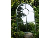 New Industrial Arch Garden Metal Mirror- Rounded 7 Pane