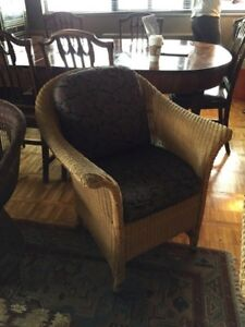 Wicker arm chairs with cushions