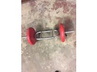 Weight training hammer curl bar and weights