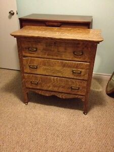 Antique Tiger Oak Dresser and Mirror