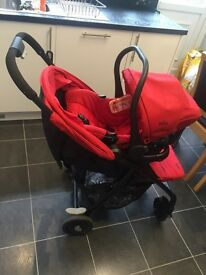 Red joie pushchair with infant seat
