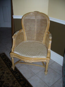 BEAUTIFUL RATTAN AND PICKLED WOOD CHAIR-LIKE NEW! VERY SOLID