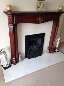 Lovely Marble Fireplace and Mahogany Wood Surround